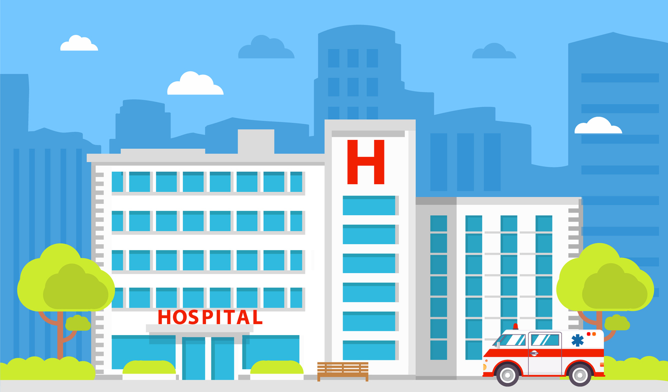Medical institution. Hospital building. City ambulance medical care.Healthcare facility.Flat style a vector.Facade of improving and health center.